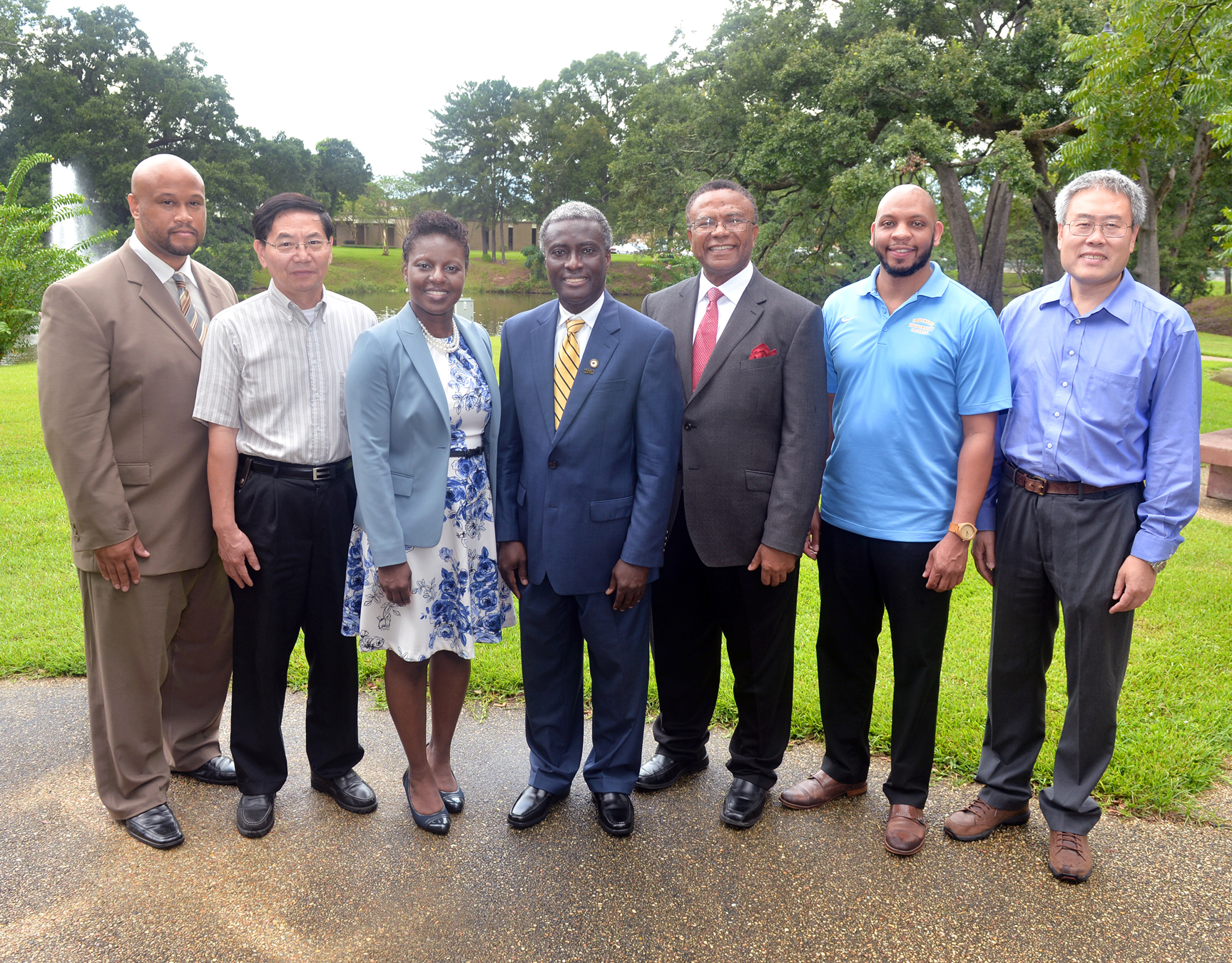 Pictured from left to right: Scott Wicker, Guang-Lin Zhao, Rachel E. Vincent-Finley, Patrick Mensah, Samuel I. Ibekwe, Fareed Dawan, and Guoqiang Li.