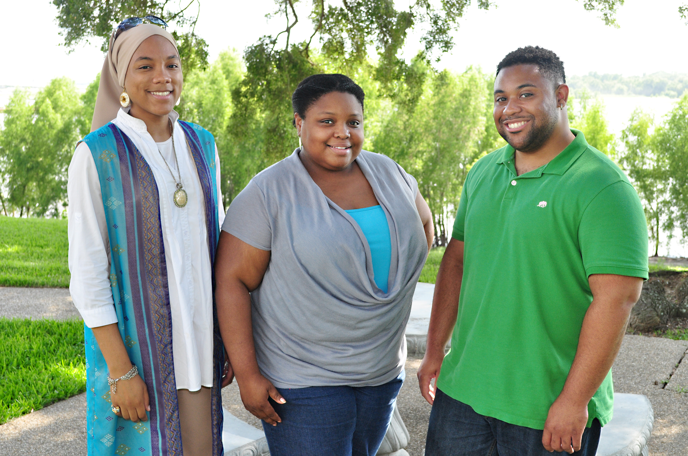 From left to right:  Ga'Brielle Muhammad, Vernita Adkins and Jarred Hayes.  Photo by John Oubre, SU Office of Media Relations