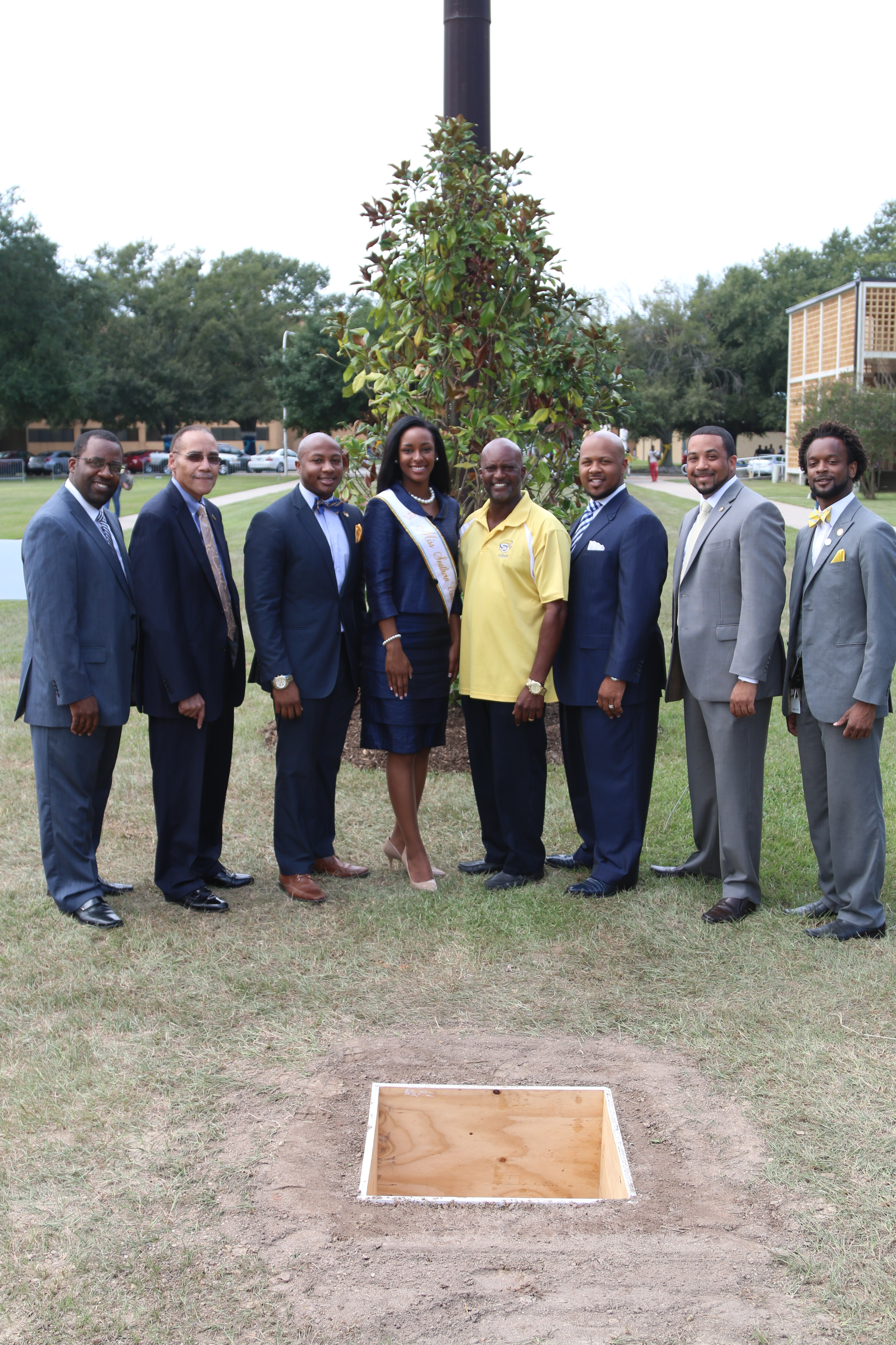 In the photo from left to right: Assistant Vice Chancellor of Student Affairs Anthony Jackson, SUBR Acting Chancellor Flandus McClinton, the 2014-2015 Student Government Association President Nicholas Harris, 2014-2015 Miss Southern University Shanice Mae Sam, Director of Landscaping Services Cordell Veal, Vice Chancellor of Student Affairs & Enrollment Management Dr. Brandon K. Dumas, Dean of Students Marcus A. Coleman, and Director of Student Life Jonas Vanderbilt.