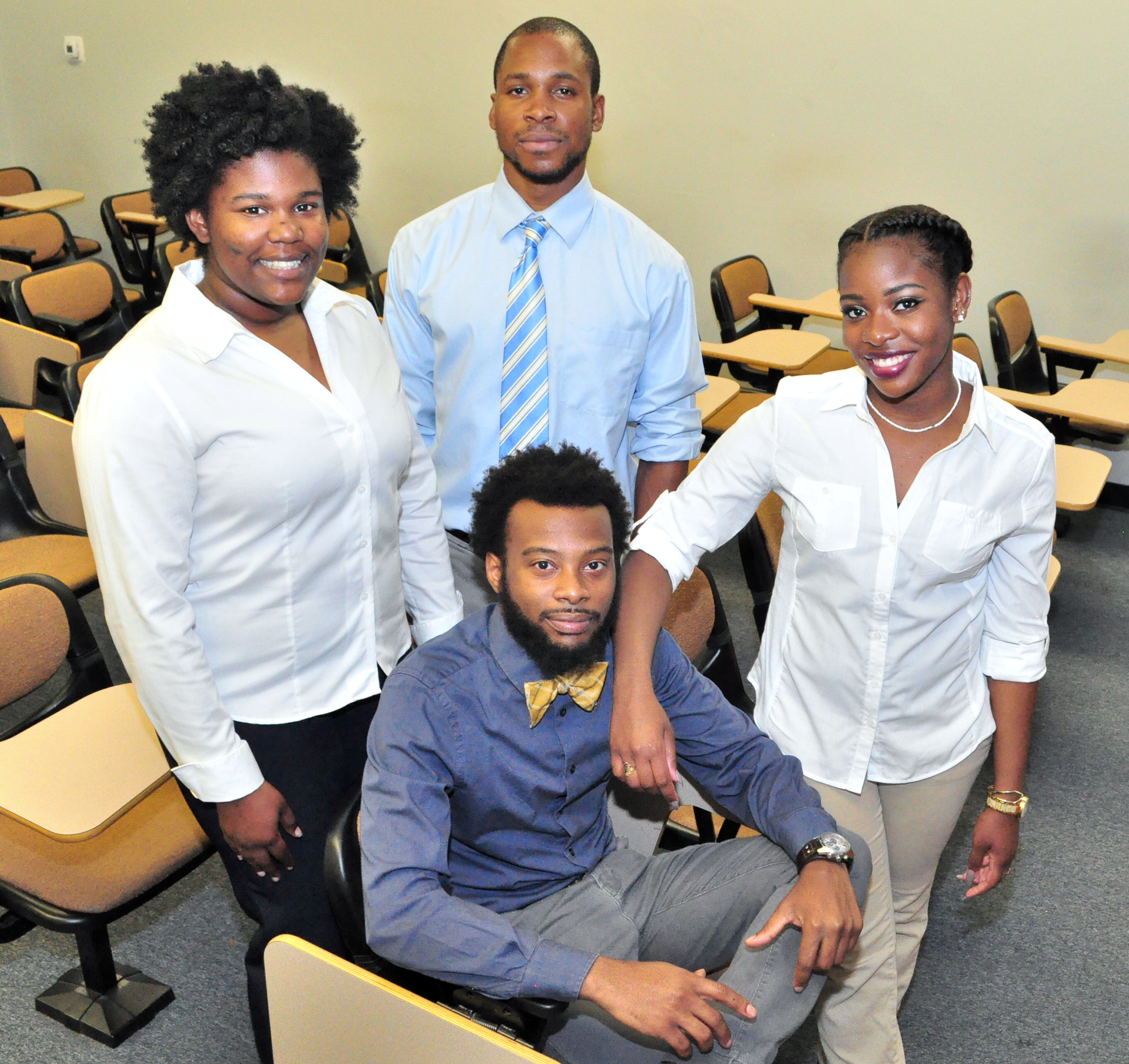 SUBR students who attended the LS-LAMP Research Symposium in National Harbor, Maryland, February 22-24, 2016, pictured left-right: Jonalyn A. Fair, Lamar Burton, QuoVadis R. Savoy, and Jasmond K. Tucker (seated). —Photo SUBR Office of Communications.