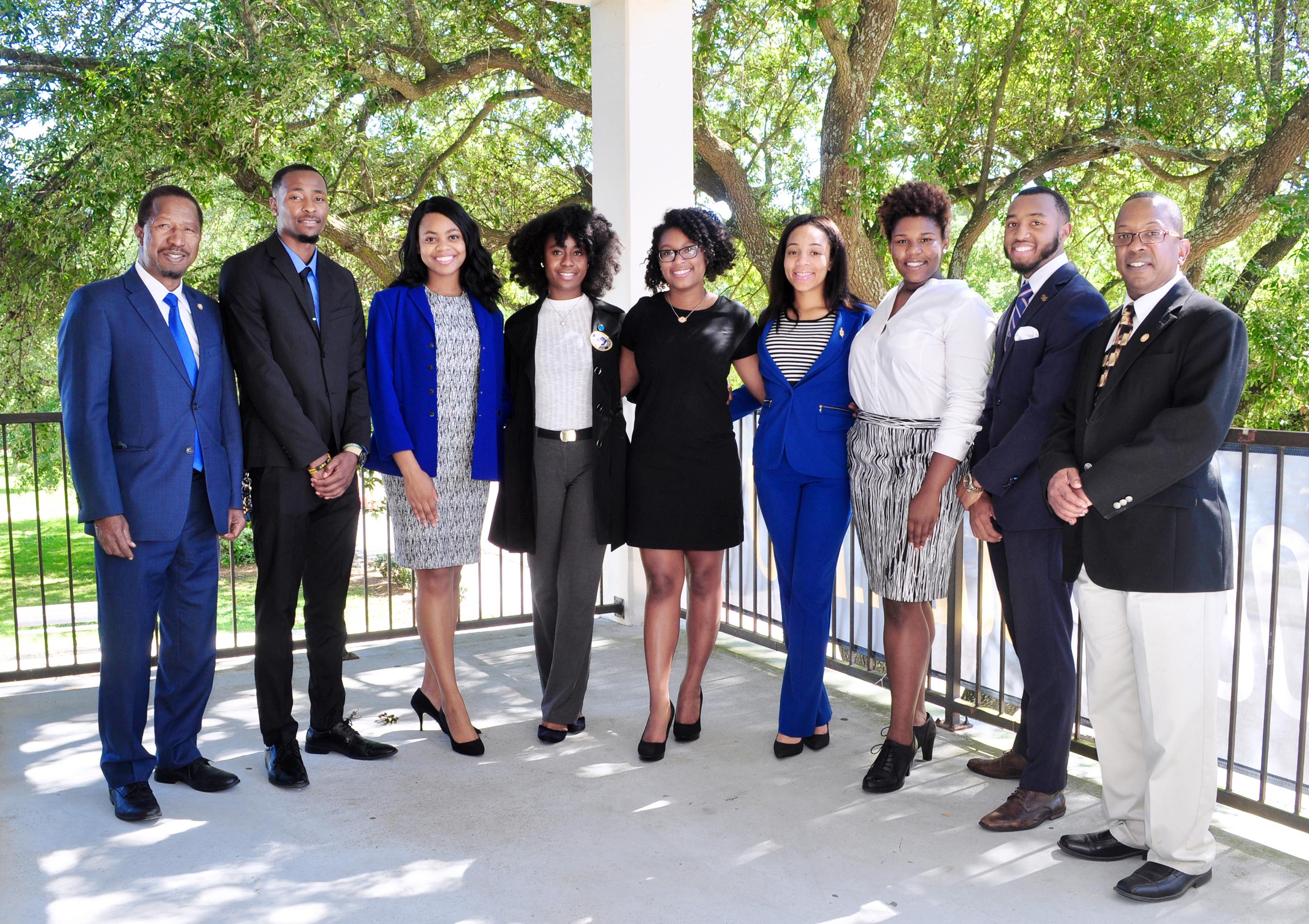 From Left to Right: Dr. Diola Bagayoko, Dean of the Dolores Margaret Richard Spikes Honors College, Justin Gay, Alana Stevenson, Anita Achea, Briana Turner, Rayda Lathon, Jonalyn Fair, Kristofer Mckinney, and Mr. Eric Pugh, DMRS Honors College Program Associate and Belize Faculty Representative