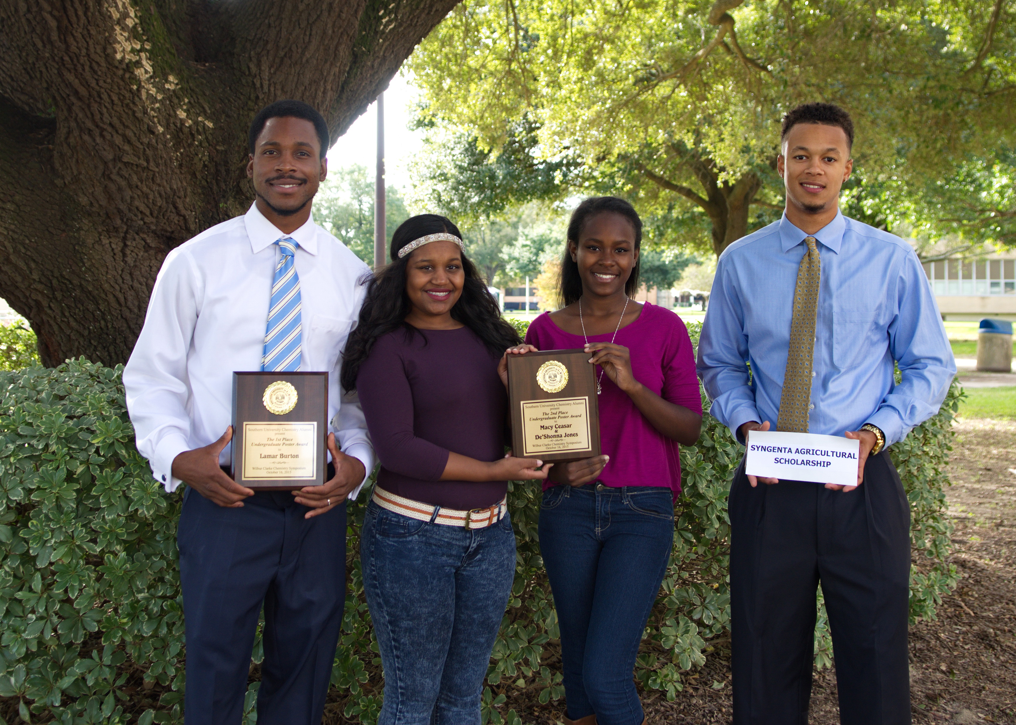 (Pictured Left to Right) Southern University Baton Rouge College of Sciences and Agriculture students Lamar Burton, Macy Caesar, De'Shonna Jones, and Alonzo Harris Jr.