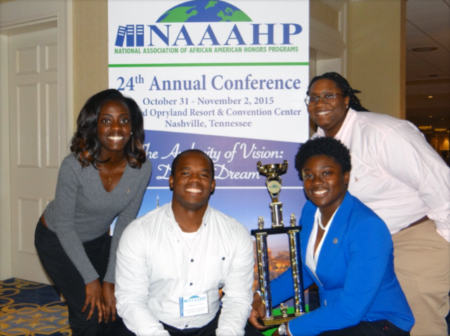 A team of SUBR students earned third place in a Quiz Bowl competition at the 24th Annual National Association of African American Honors Programs (NAAAHP) Conference, October 31, 2015, in Nashville Tennessee. Pictured: winning Quiz Bowl team members from SUBR are (left to right) Paula Mensah, Terrence Curry, Nsombi Roberts, and Myeisha Webb. —Photo credit Diola Bagayoko