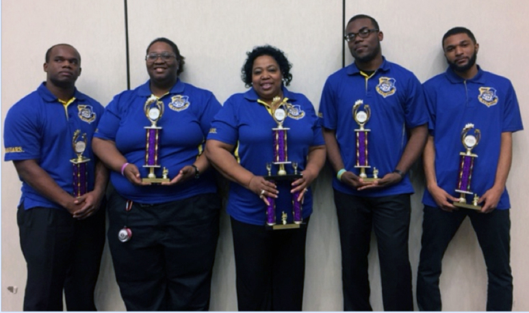 Pictured (left to right): Southern University Quiz Bowl Team- Terrence Curry, Myeisha Webb (captain), assistant professor Deadra Mackie (coach), Kelvin Wells Jr., and Joyner Deamer