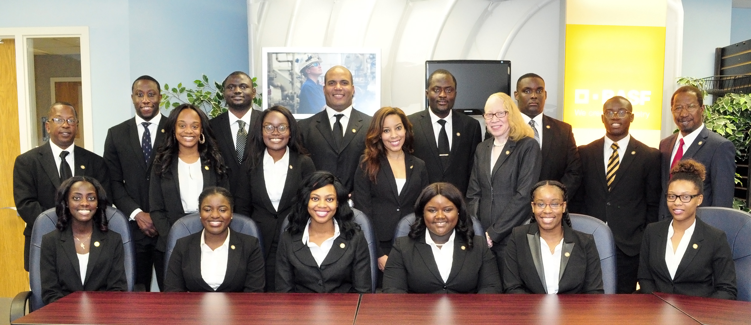 First row: (Seated Left to Right) Paula Marie Mensah, Lela Murdock, Alana Stevenson, Jasmine Singleton, Jasmine Price, Kamrie Dillard   Second Row: (Standing Left to Right) Eric Pugh, Zana Harris, Angel Caston, Brittany Price, Chie Tamara Montgomery-Lead TMCF Campus Organizer  Back Row: (Standing Left to Right) Ryan Tucker, John Paul Oyibo, Jason Peters, Chie Awunah, Alex Mckee, Nathan Morrison, and Dr. Diola Bagayoko.