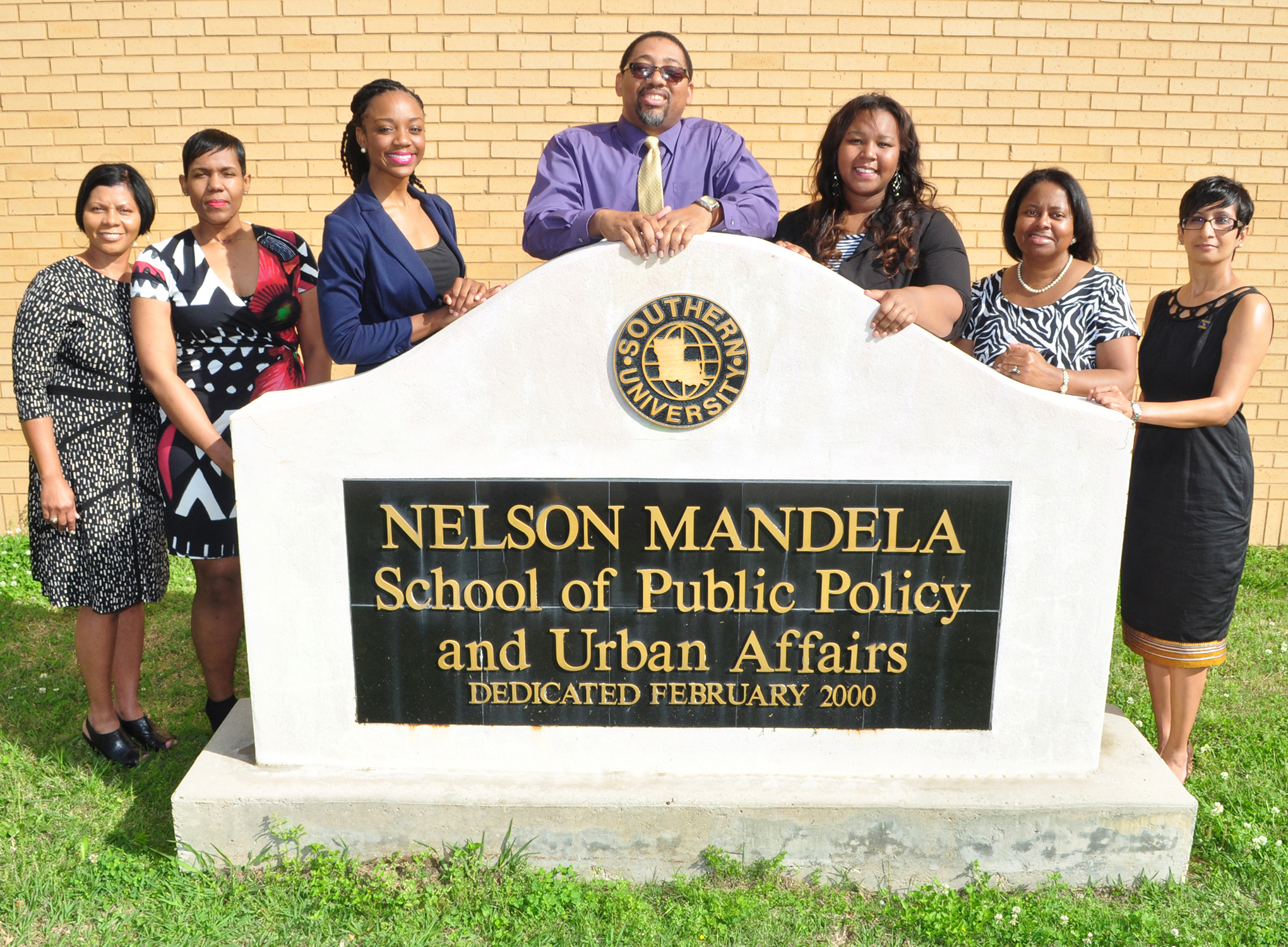 Southern University Baton Rouge students and faculty will attend the National Conference of Black Political Scientists (NCOBPS) in Jackson, Mississippi, March 16 -20, 2016. Pictured (left –right): professors Melanie Johnson-Cunningham and Leslie Grover, student Arnedia Wallace, interim dean Albert Samuels, student Sicqora Williams, and professors Blanche Smith and Revathi Hines.