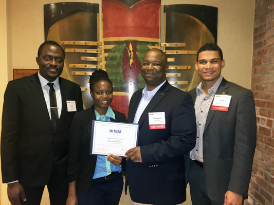 SUBR MBA students (from left) Chie Fred Awumah, Sophie Balunywa, Tremayne Criner, and Jose Francisco, competed as a team at the 2016 Institute for Supply Management (ISM) Annual Diversity Summit Case Competition in New Orleans. The SU team placed second.