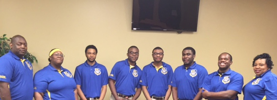 SUBR National Quiz Bowl Team Members pictured (from left) are students Calvin Adolph, Myeisha Webb, Joyner Deamer, Kelvin Wells, Eric Thompson, Kemon Jones, Terrance Curry, and coach Deadra James Mackie, assistant professor/academic advisor, SUBR Dolores Margaret Richard Spikes Honors College.