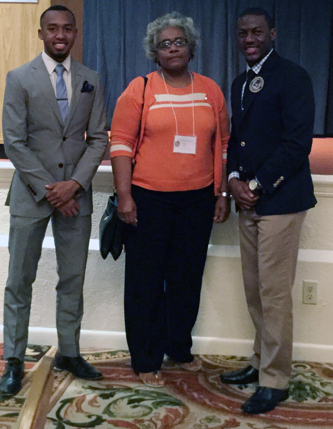 Southern University Dolores Margaret Richard Spikes Honors College student scholars Kristofer McKinney and Michael Agbor made presentations at the Southern Regional Honors Council conference in Orlando, Florida, March 31 through April 2, 2016. Pictured (left to right): McKinney, SUBR Honors College counselor Della Perkins, and Agbor.