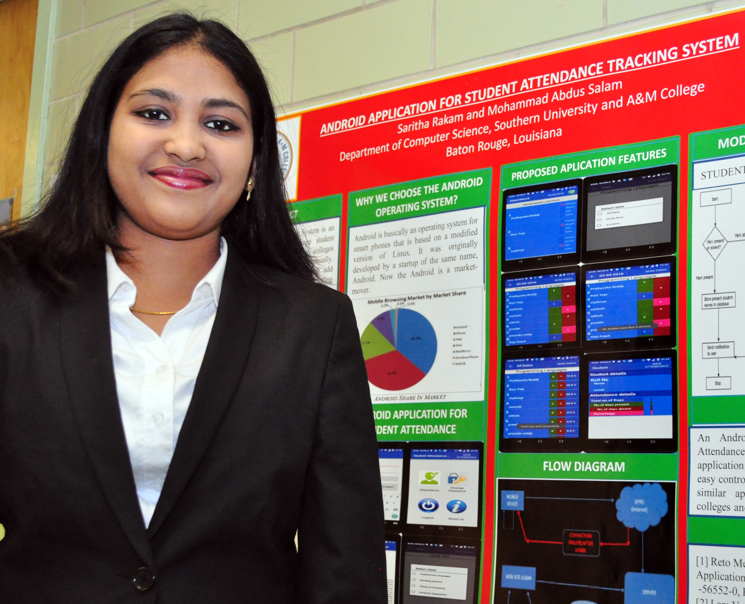 SUBR computer science graduate student Saritha Rakam won a best graduate poster presentation award during the 90th Annual Meeting of the Louisiana Academy of Sciences at Louisiana State University Alexandria, April 23, 2016.
