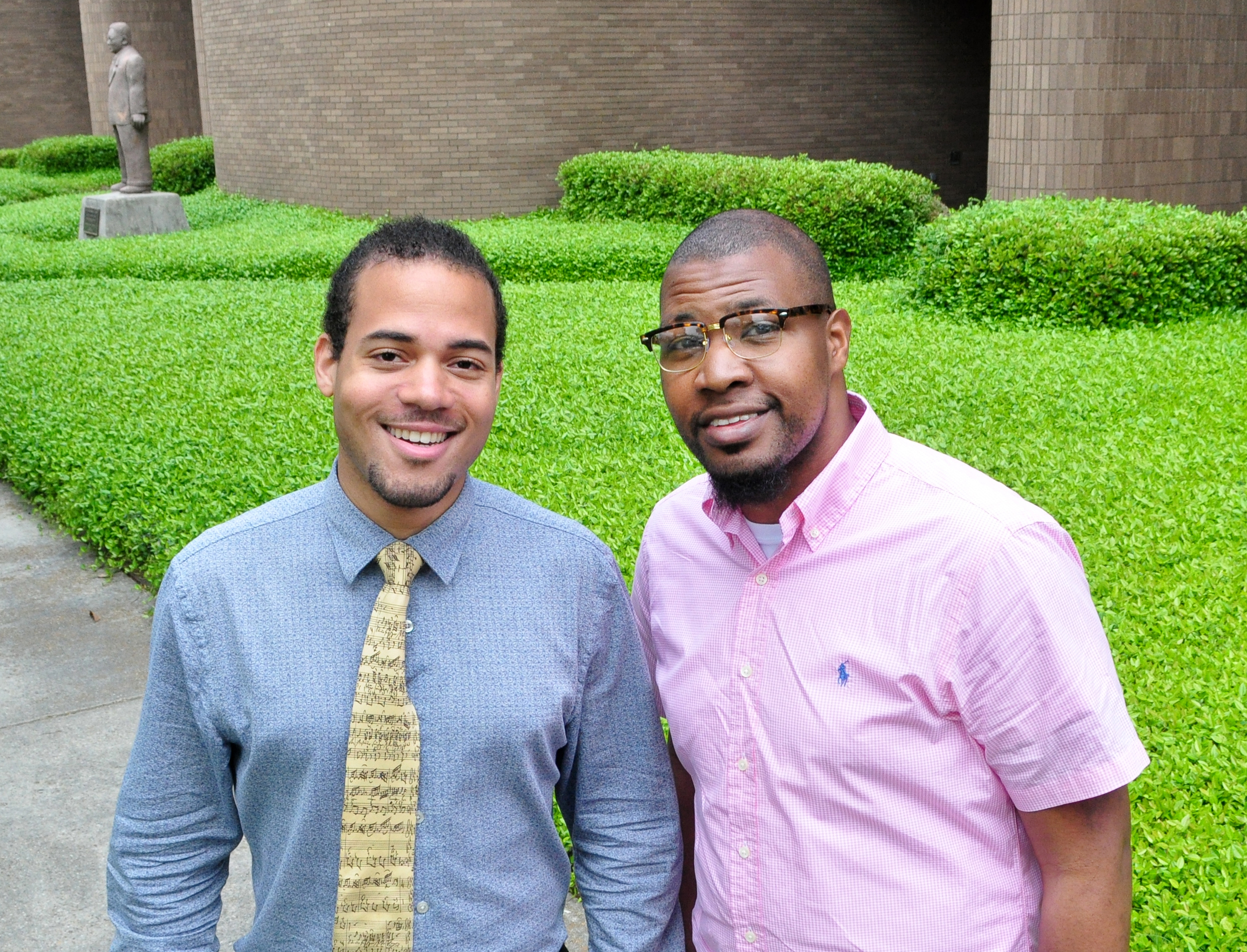 SUBR students Joshua Staes (left) and Arthur Gremillion won the Regional National Association of Negro Musicians Scholarship Auditions in voice, April 8-9, 2-16, in Dallas, Texas.