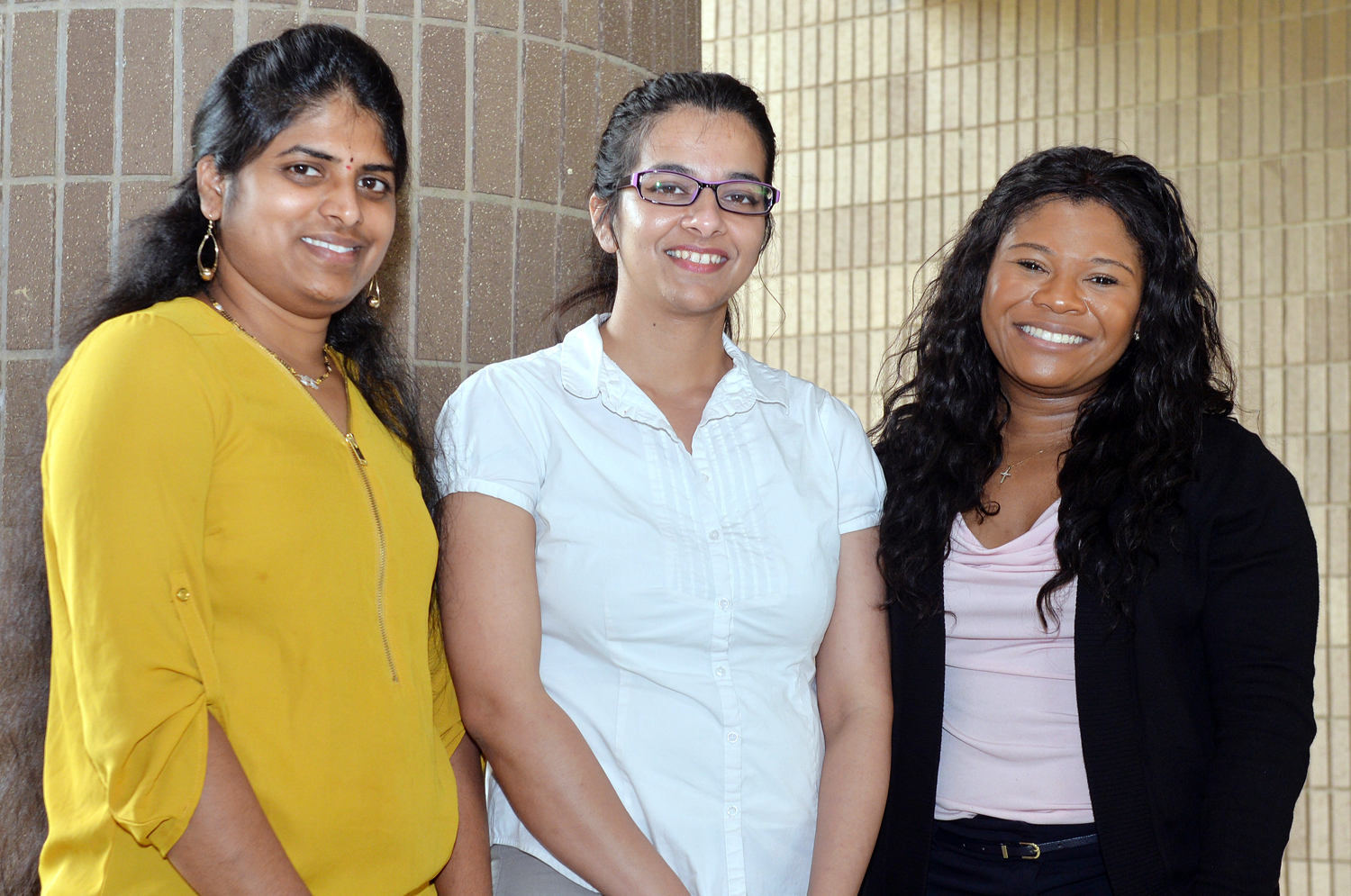 (from left to right) Prathyusha Bagam, Gagandeep Kaur, and Rakeysha Pinkston