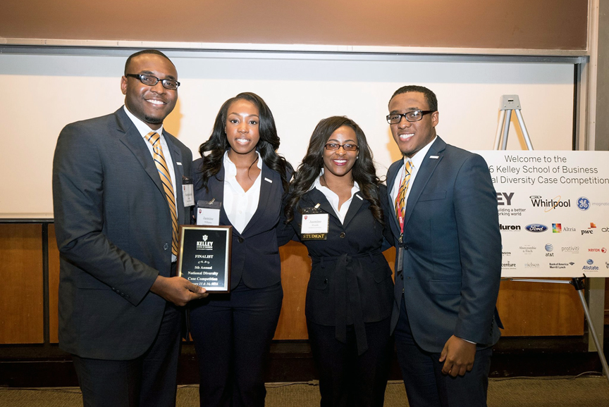 Four SU College of Business students participated as a team in the Kelley School of Business National Diversity Case Competition (NDCC) January 15-16, 2016, at the Indiana University. The SU team placed first in their division that qualified them to advance to the final round. Out of 34 teams, SU students finished seventh overall. Pictured (left - right): Marquanski Arvie, Jasmine Williams, Jasmine Woods, and team captain Rashad Pierre.