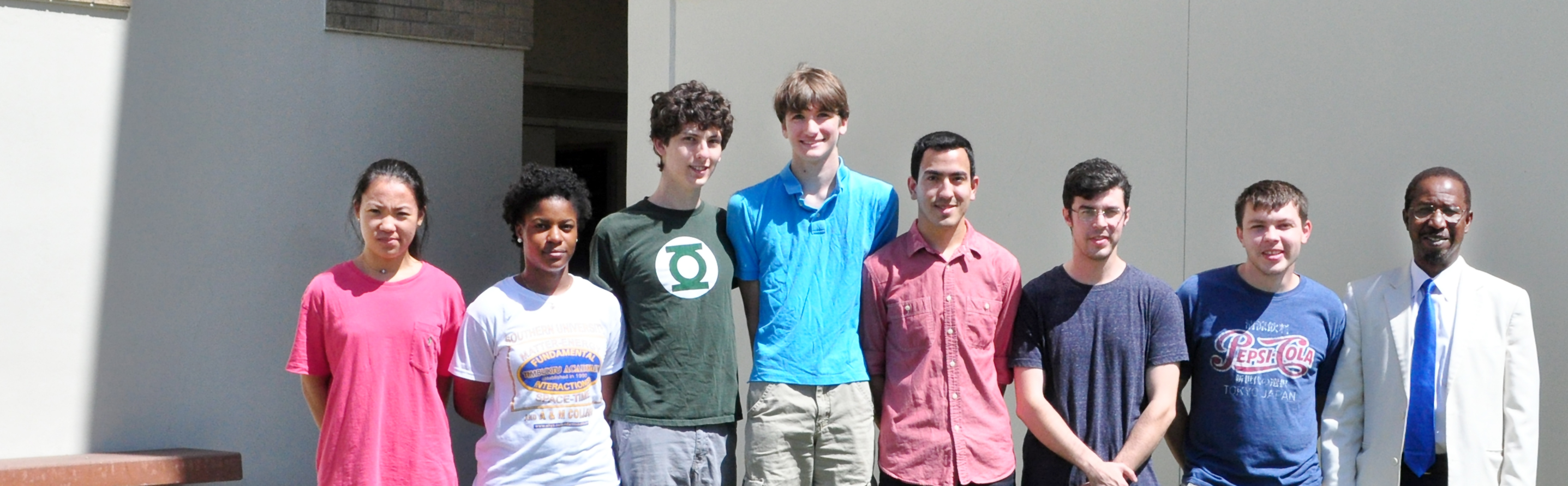 The Research Experiences for Undergraduates program at SU, from left to right, are: Hyeyon Kim from Vanderbilt University; Daneisha Blair from Southern University; Daniel Polin, New York University; Joshua Ziegler, Case Western University; Jerry Martinez, Pomona College; Christopher Schayer, LSU; Robert Stewart, Akron University; and Dr. Diola Bagayoko – Lead SUBR-LASiGMA Investigator.  (Photo by John Oubre)
