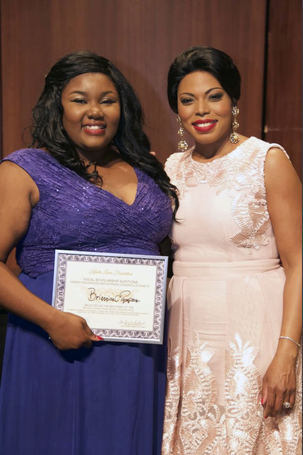 Briannica Thompson (left), a recent SU Baton Rouge graduate, won a $4000 Kristin Lewis Foundation Vocal Scholarship during a competition in Conway, Arkansas, May 22, 2016.  Thompson is pictured with founder Kristin Lewis, an accomplished soprano.