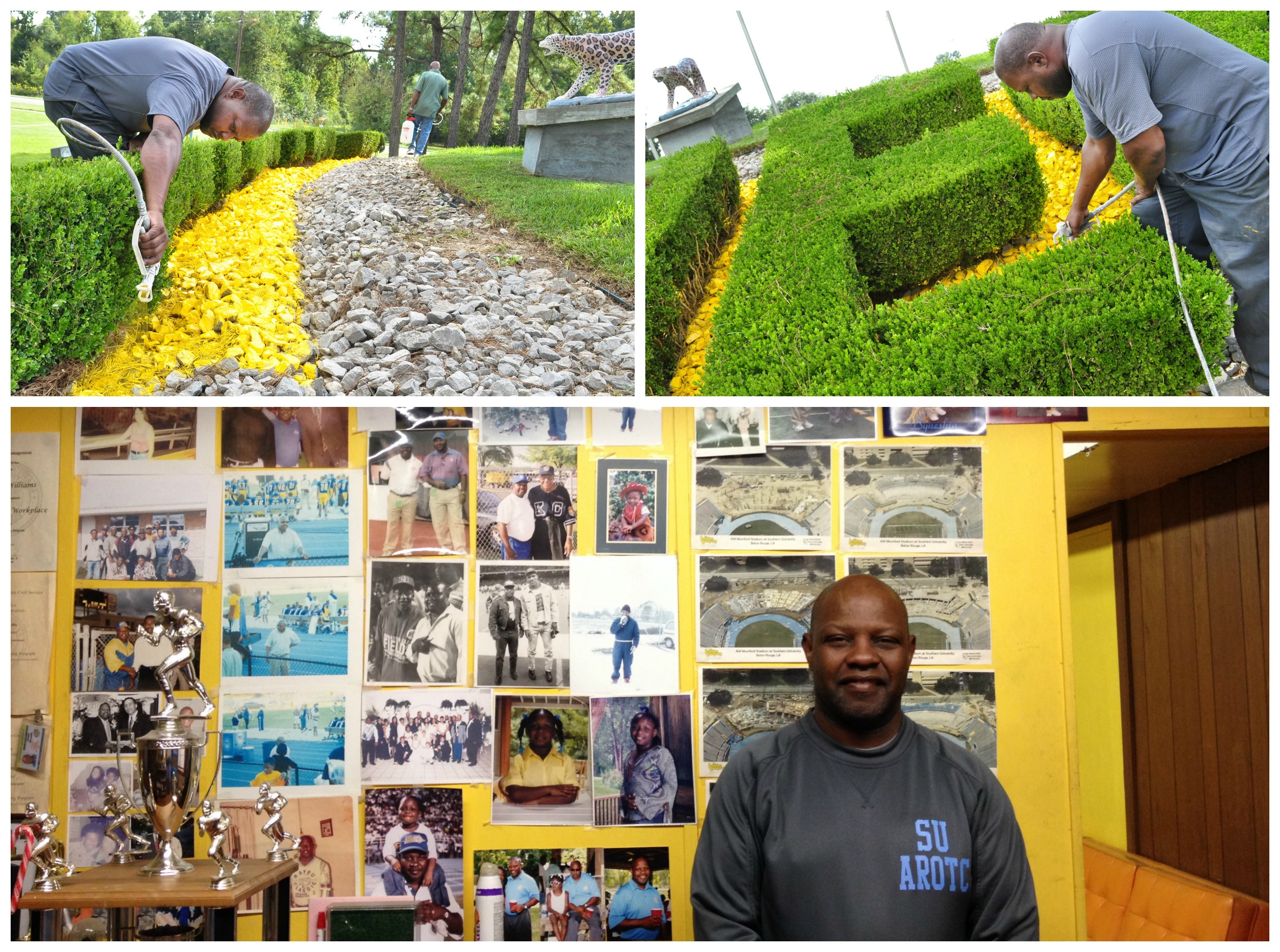 Williams stands in front of his Wall of Fame in his office.  Top photos:Williams working on the Southern mound seen coming on to campus off Harding Blvd.